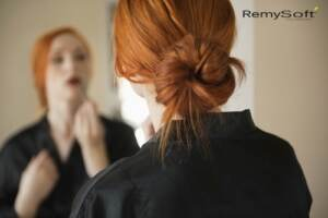 Create a simple bun with hair products for remy hair.